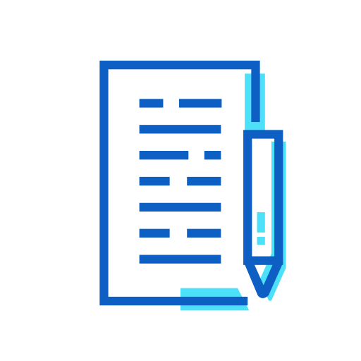 and, paper, pen icon