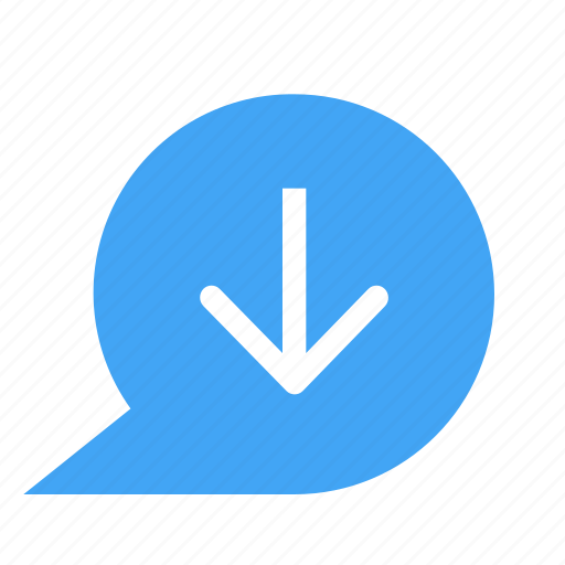 bubble, chat, chatting, down, download, message icon