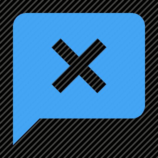 bubble, chat, chatting, close, delete, message icon