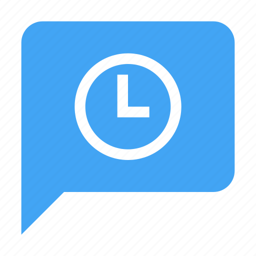 alarm, alert, bubble, chat, clock, pending, scheduled icon