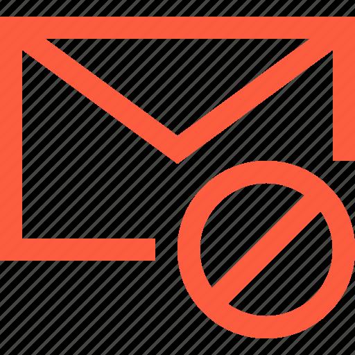 ban, blacklist, block, envelope, letter, message icon