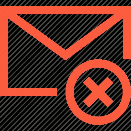 cancel, delete, envelope, error, fail, letter, mail, message icon