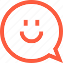 bubble, chat, emoji, face, happy, message, smile, speech icon
