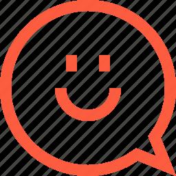bubble, chat, emoji, face, happy, message, smile, speech icon