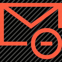 delete, envelope, letter, message, remove, unread icon