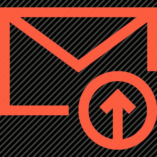 envelope, letter, mail, message, sending, upload icon