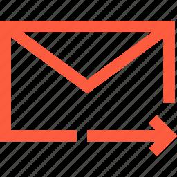 envelope, forward, letter, mail, message, next, send icon
