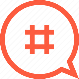 bubble, chat, hashtag, message, speech, tag icon