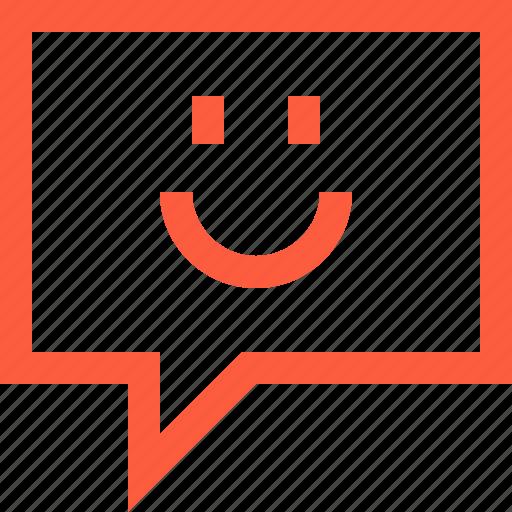 bubble, chat, emoji, face, message, smile, speech icon