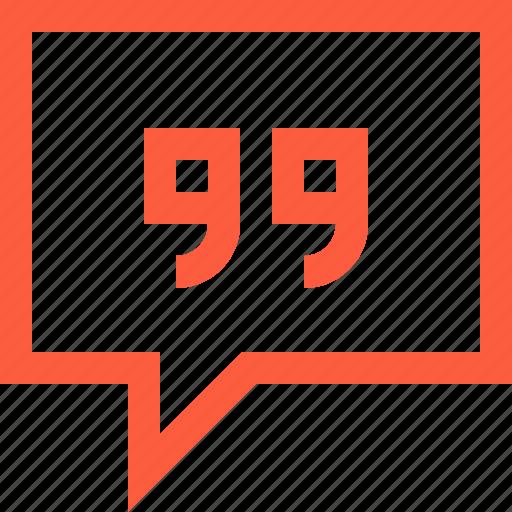 bubble, chat, citation, message, quote, reply, speech, square icon