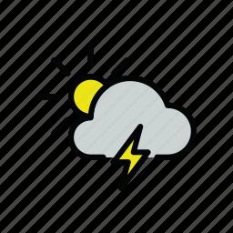 meteo, sun, thunder, thunderstorm icon