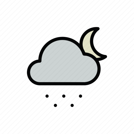 meteo, moon, night, snow, snowy icon