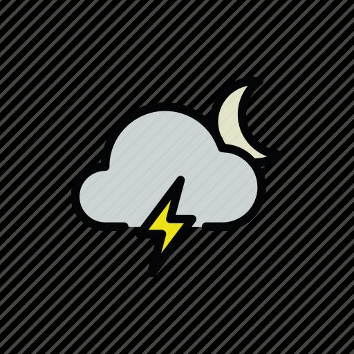 meteo, moon, night, thunder, thunderstorm icon