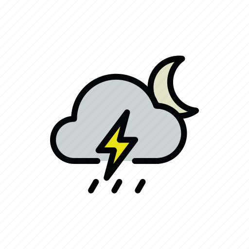 meteo, moon, night, rain, rainy, thunder, thunderstorm icon