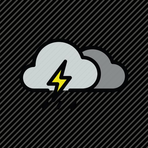meteo, rain, thunder, thunderstorm icon
