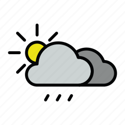 meteo, rain, rainy, sun icon