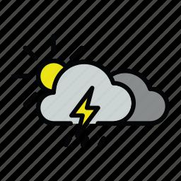 meteo, rain, sun, thunder, thunderstorm icon
