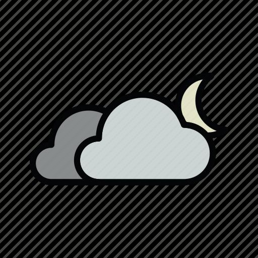 cloud, cloudy, meteo, moon, night icon