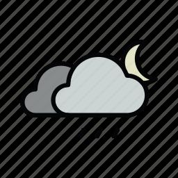 meteo, moon, night, rain, rainy icon
