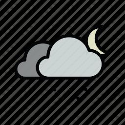 meteo, moon, night, snow, snowy icon