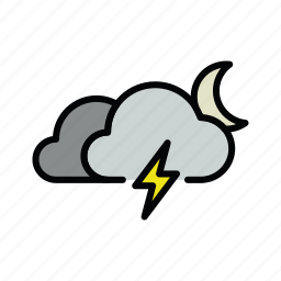 meteo, moon, night, thunder, thunderstorm icon