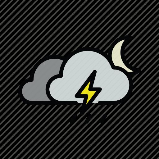 meteo, moon, night, rain, rainy, thunder, thunderstorm icon