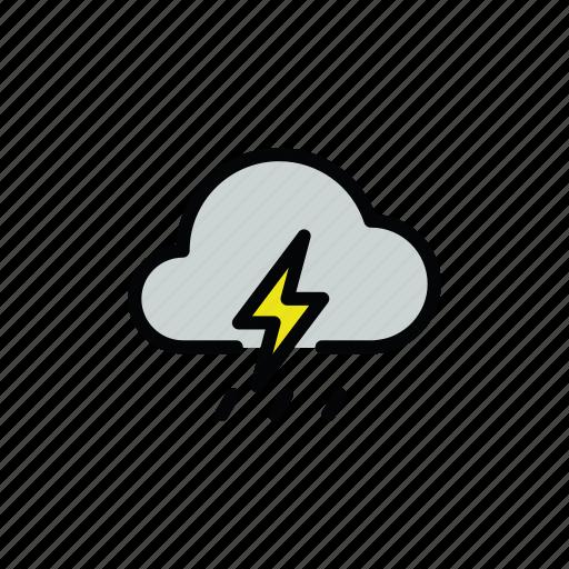 meteo, rain, rainy, thunder, thunderstorm icon