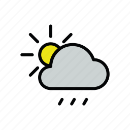 meteo, rain, rainy, sun icon