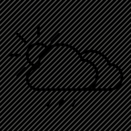 cloud, rain, rainy, sun, weather icon
