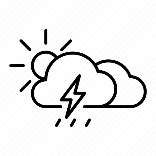 cloud, rain, rainy, sun, thunder, thunderstorm, weather icon