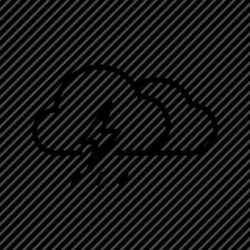 cloud, cloudy, rain, rainy, thunder, thunderstorm, weather icon