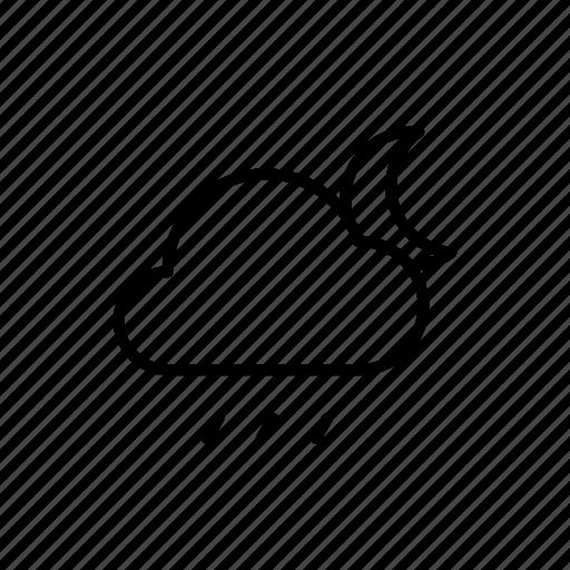 moon, night, rain, rainy, weather icon