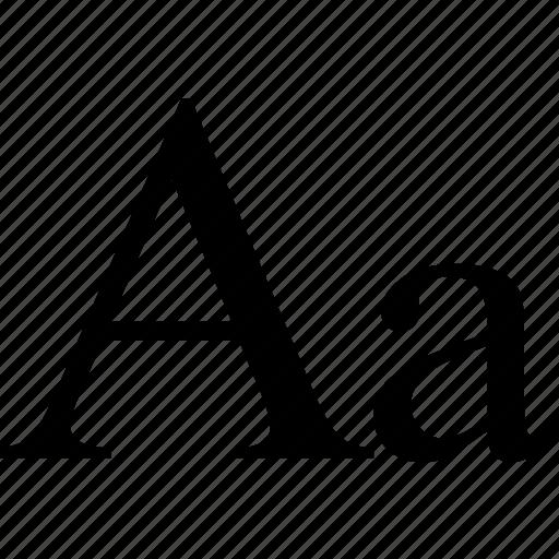 a, alfabet, case, font, graphic, language, letter, new, roman, sign, text, times icon