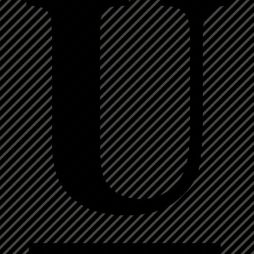 alphabet, font, graphic, letter, sign, text, typography, u, underline, underlined icon
