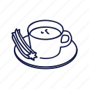 choco, churro, dessert, food, mexican, outline icon