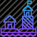 building, eel, ha, landmark, lighthouse, park icon