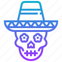 cap, death, hat, mexico, skull icon