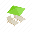 beach, comfort, deckchair, isometric, leisure, parasol, summer icon