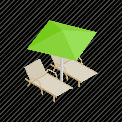beach, comfort, deckchair, isometric, leisure, parasol, summer icon