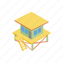 lifeguard, summer, isometric, rescue, safety, tower, beach