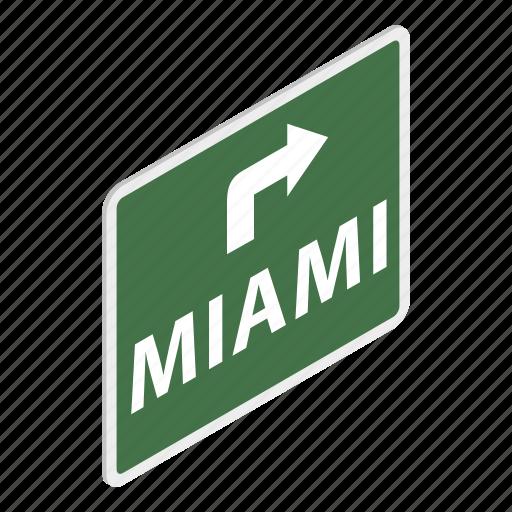 city, direction, isometric, miami, road, signpost, way icon