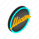 city, direction, isometric, light, miami, neon, way icon