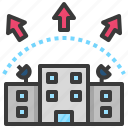 outside, company, expand, export, externalities icon