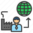 factory, production, manufacturing, supply, export icon