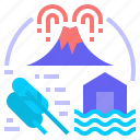 flood, disaster, environment, natural disaster, wind storm, volcano erupted, climate change icon