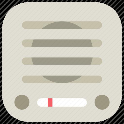 app, broadcast, mobile, music, radio, retro, smartphone icon