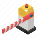barricade, barrier, checkpoint, checkpost, control point, customs barrier, restricted icon