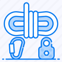 carabiner, climbing rope, dynamic rope, jumping rope, rope access icon