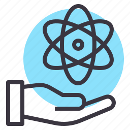 atomic, care, energy, nuclear, receive, science, support icon