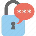 chat app lock, confidential chat, message lock, messenger app lock, top secret speech icon